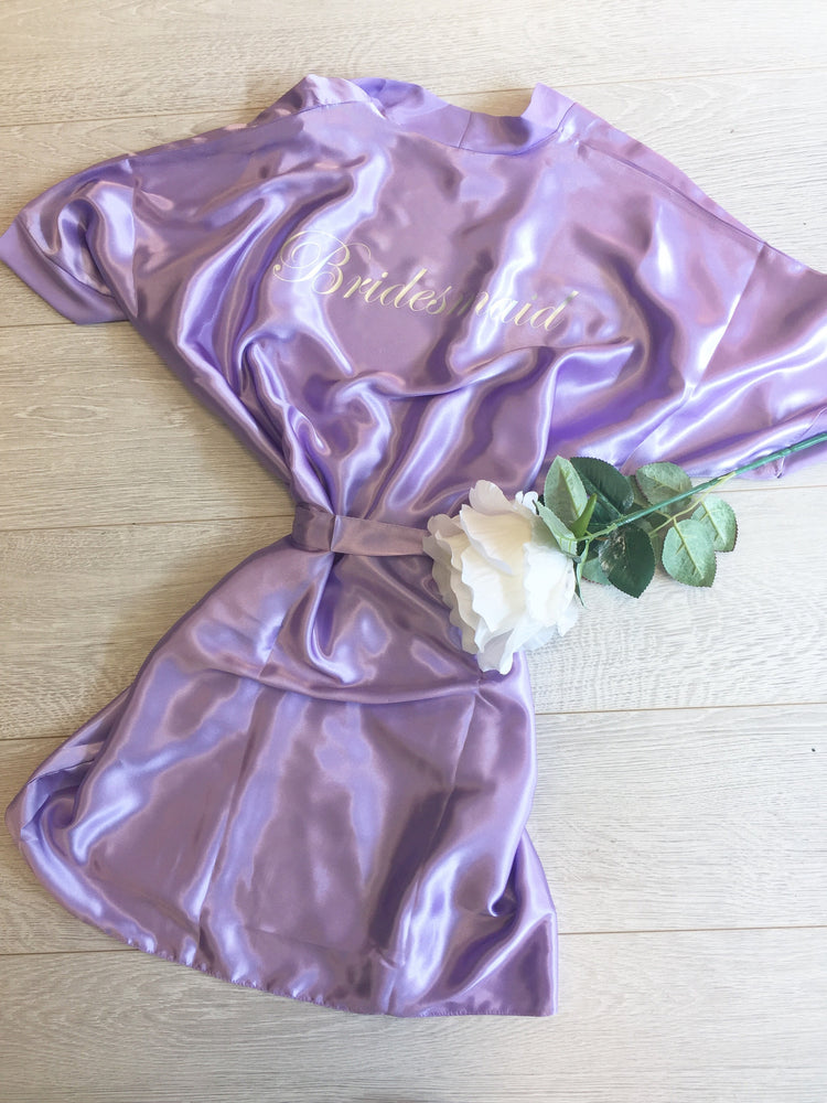 Silky Lilac Wedding Robe