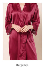 Abigail Satin Lace Personalised Robe - Burgundy