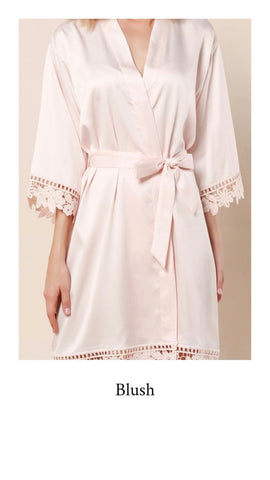 Abigail Satin Lace Personalised Robe - Blush