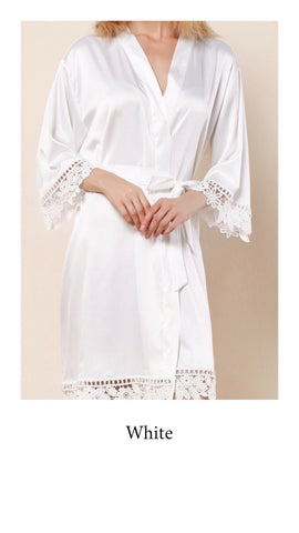 Abigail Satin Lace Personalised Robe - White