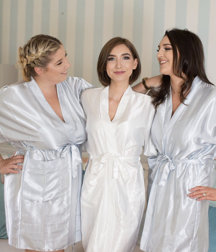 Silky Grey Wedding Robe