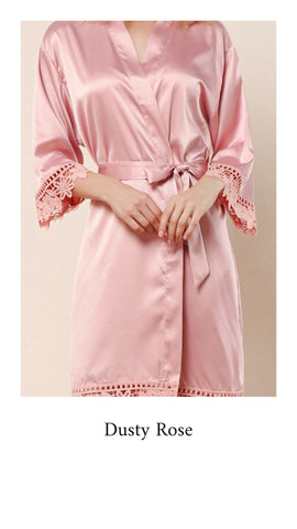 Abigail Satin Lace Personalised Robe - Dusky Rose