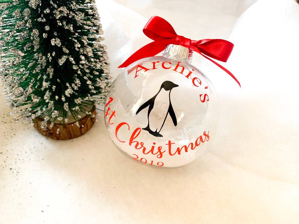 Personalised First Christmas Penguin Christmas Bauble