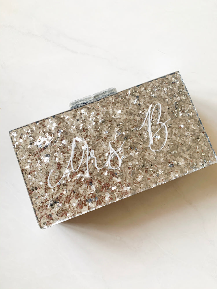 Serenity Personalised Hard Silver Glitter Clutch Bag