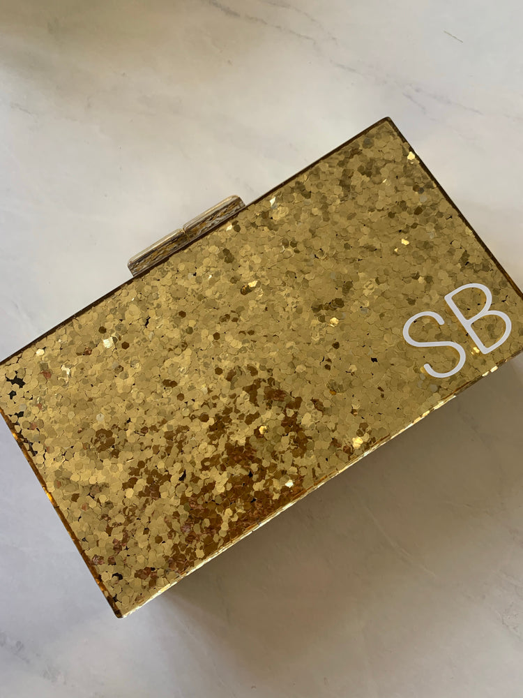Monogrammed  Personalised Hard Gold Glitter Clutch Bag
