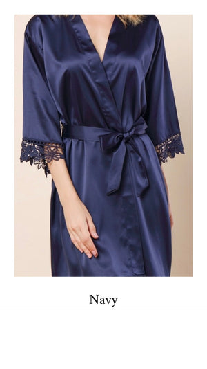 Abigail Satin Lace Personalised Robe - Navy