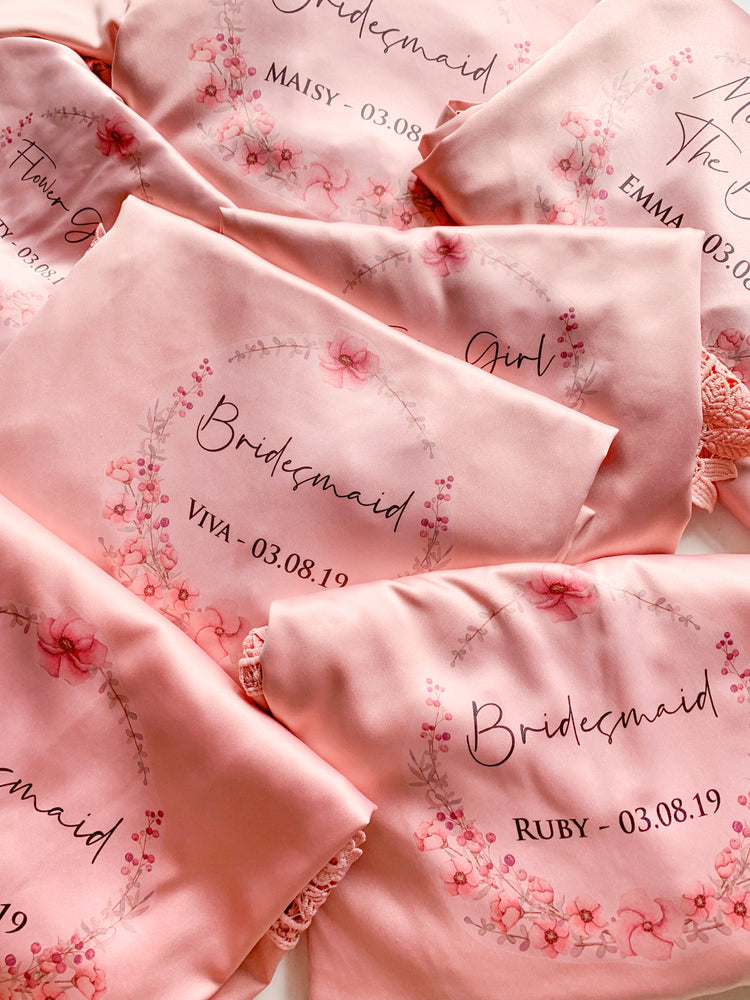 Gentle Flower WreathAbigail  Satin Lace Personalised Robe
