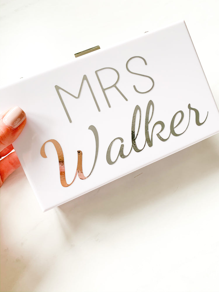 Personalised White Hard Clutch Bag with full name White/Silver