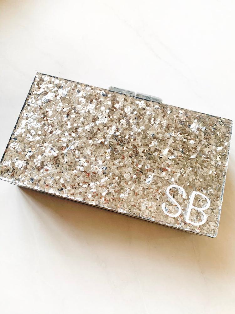 Monogrammed Personalised Hard Silver Glitter Clutch Bag