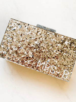 Mrs Monogrammed Personalised Hard Silver Glitter Clutch Bag