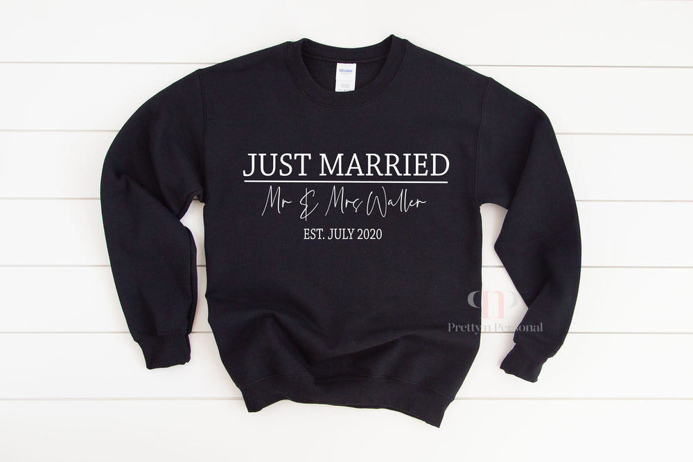 Personalised Just Married Sweatshirt - Black or White