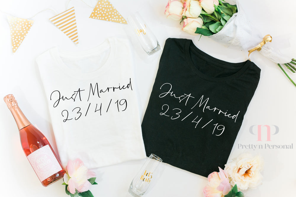 Just Married Personalised  T-Shirt Set