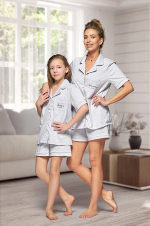 Matching Mum and Mini Cotton Piped Pyjama Set