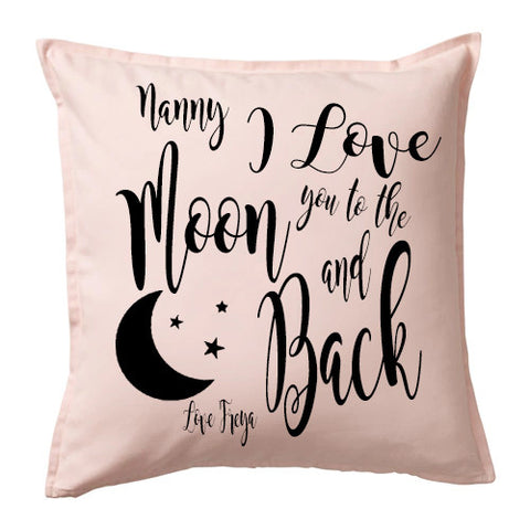 I love you to the Moon and Back Cushion - Light Pink