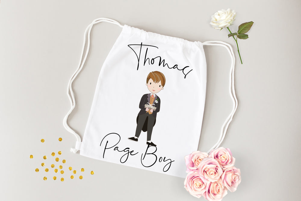 White Personalised Child's Wedding String Bag