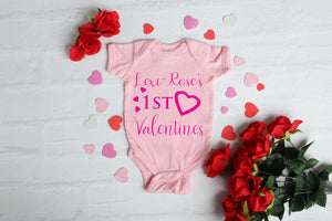 1st Valentines Baby Grow Pink
