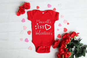 1st Valentines Baby Grow Red