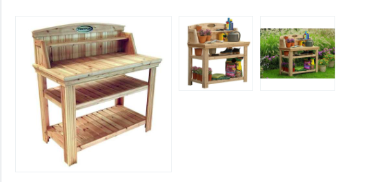 Natural Cedar Wood Potting Bench Garden Work Table with Shelves