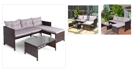 3 Piece Rattan Wicker Deck Couch Outdoor Patio Sofa Set