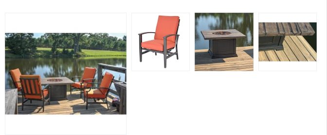 5 Piece Tres Motion Cast Aluminum Patio Chair and Gas Fire Pit Outdoor Furniture Set-Terracotta