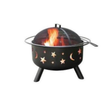 Big Sky Fire Pit-Black with Moon and Stars
