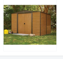 Outdoor 10 by 12 foot Steel Storage Shed with Wood-Grain Panels