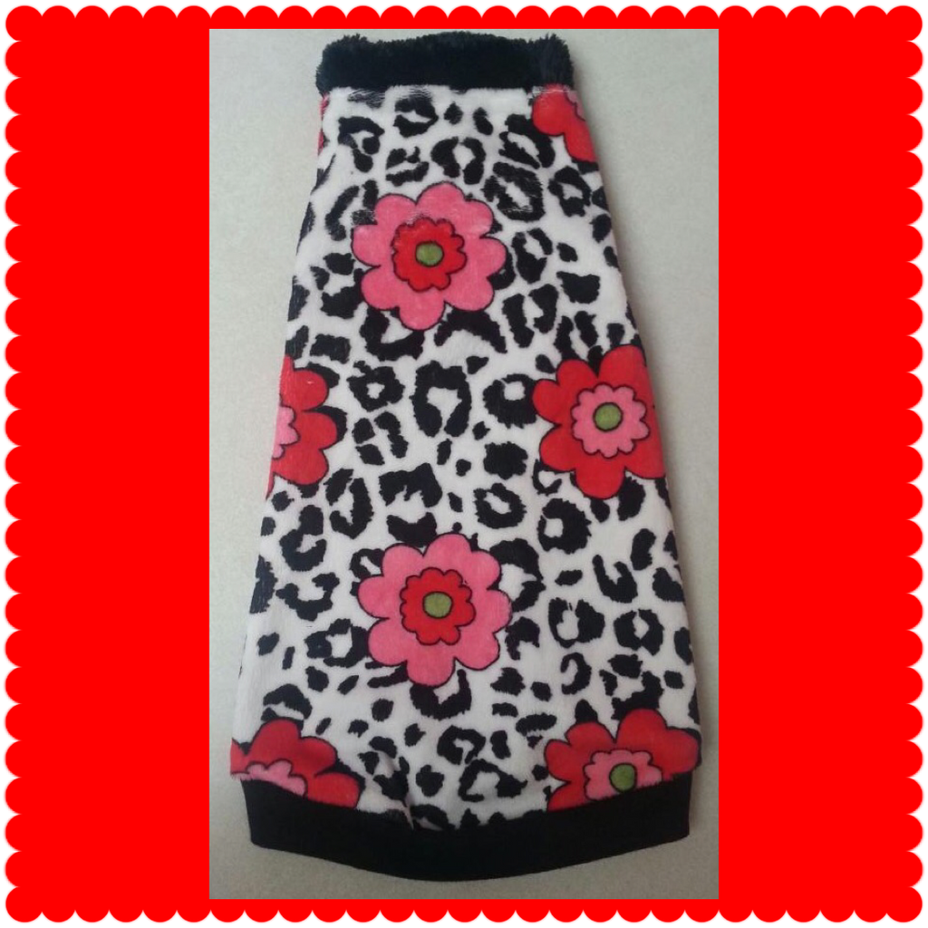 Black and White Leopard Red Flowers Minky with Faux Fur Collar