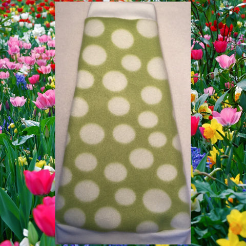 "White and Green Polka Dot Fleece ""Fresh"" - Nudie Patooties"