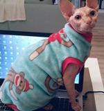 "Blue and Red Monkey Fleece ""Sock Monkey"" - Nudie Patooties  Sphynx cat clothes for your sphynx cat, sphynx kitten, Donskoy, Bambino Cat, cornish rex, peterbald and devon rex cat."