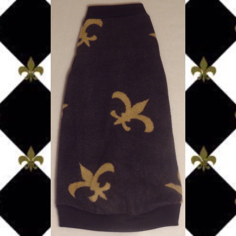 "Black Fleece ""Fleur De Lis"" - Nudie Patooties  Sphynx cat clothes for your sphynx cat, sphynx kitten, Donskoy, Bambino Cat, cornish rex, peterbald and devon rex cat."