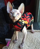 "Red Fire Fleece ""Smokey Bear"" - Nudie Patooties  Sphynx cat clothes for your sphynx cat, sphynx kitten, Donskoy, Bambino Cat, cornish rex, peterbald and devon rex cat."