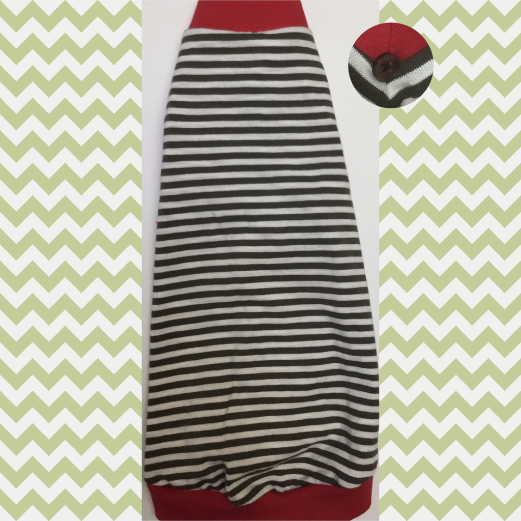 Olive and Cream Stripes with Red Trim - Nudie Patooties