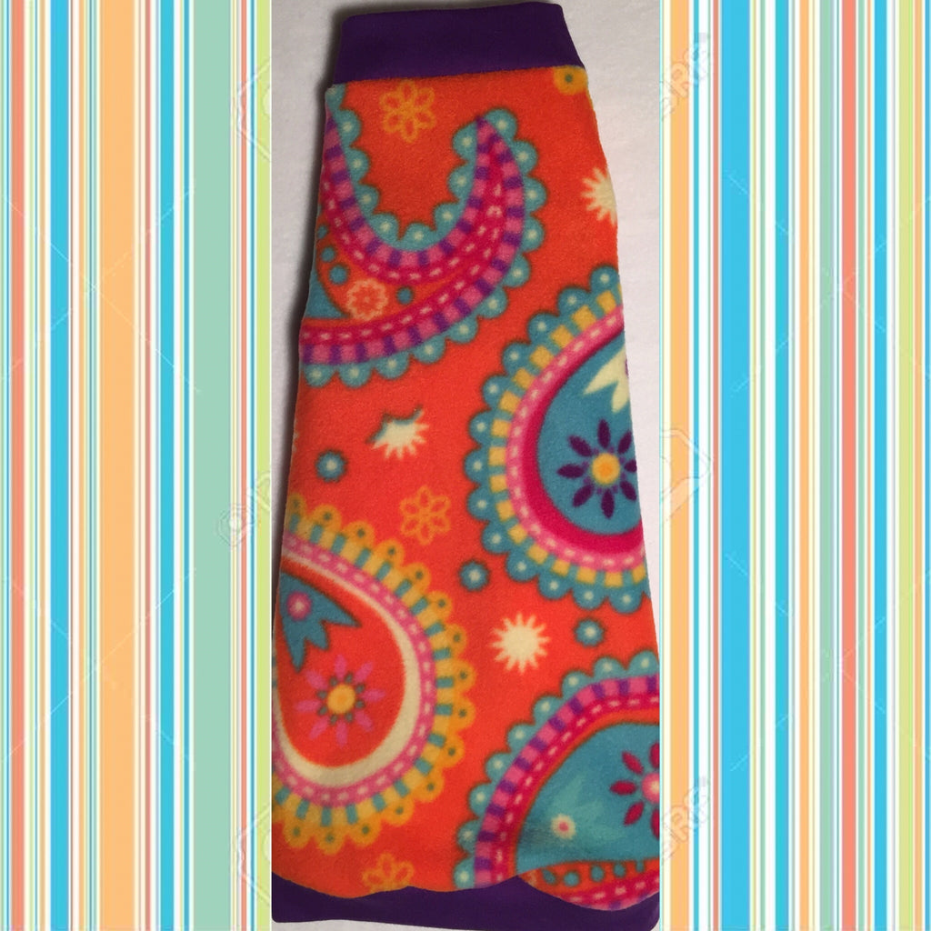 "Orange, Purple, and Turquoise Paisley Fleece ""Orange You Cute"" - Nudie Patooties"