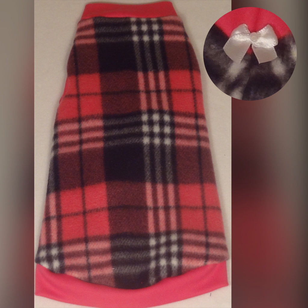 "Pink and Black Plaid Fleece ""Luna"" - Nudie Patooties  Sphynx cat clothes for your sphynx cat, sphynx kitten, Donskoy, Bambino Cat, cornish rex, peterbald and devon rex cat."