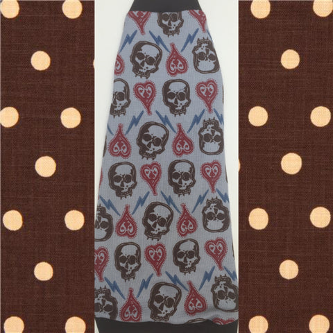 "Blue Waffle Shirt ""Hearts and Skulls"" - Nudie Patooties  Sphynx cat clothes for your sphynx cat, sphynx kitten, Donskoy, Bambino Cat, cornish rex, peterbald and devon rex cat."