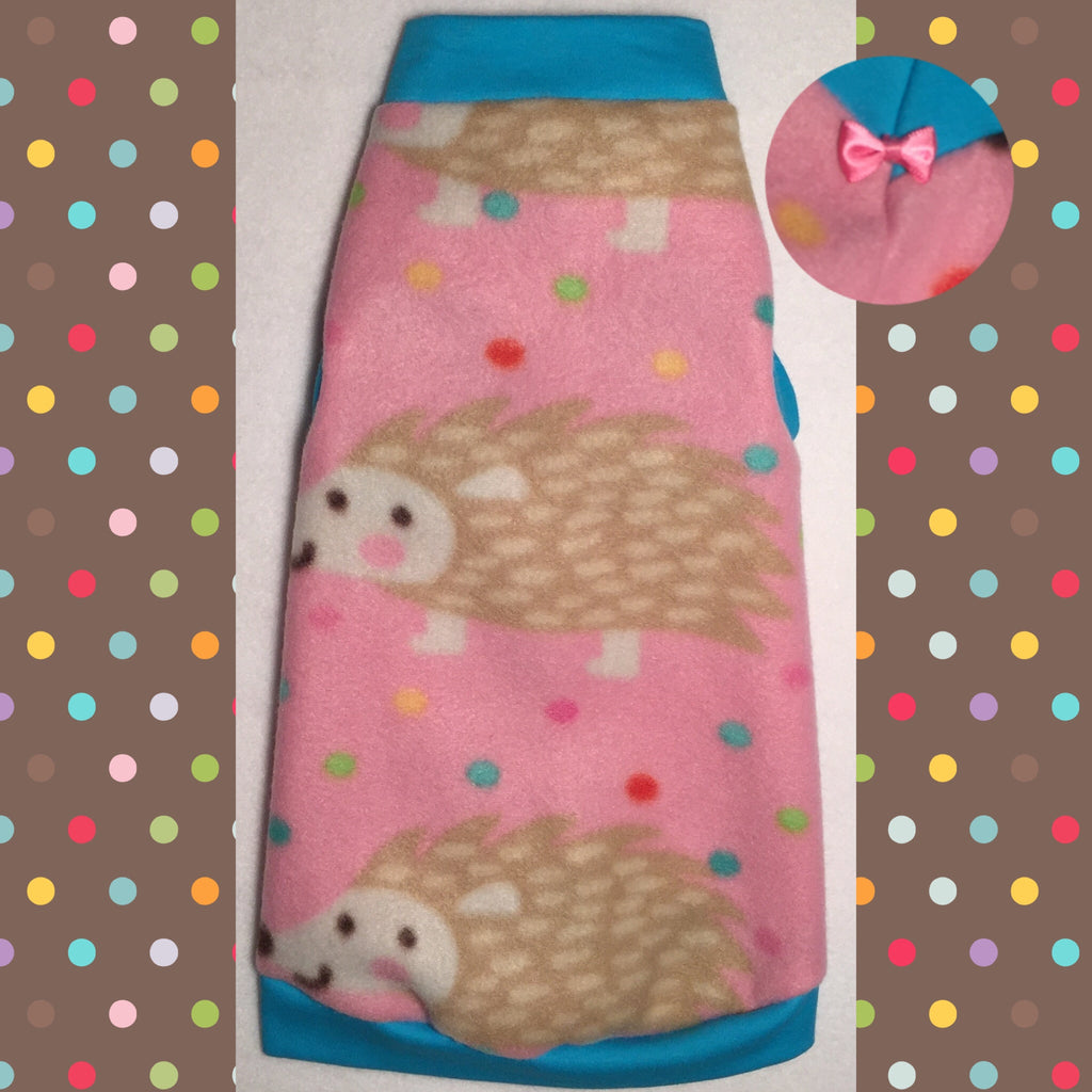 "Pink Polka Dot Porcupine Fleece ""Prickly"" - Nudie Patooties"