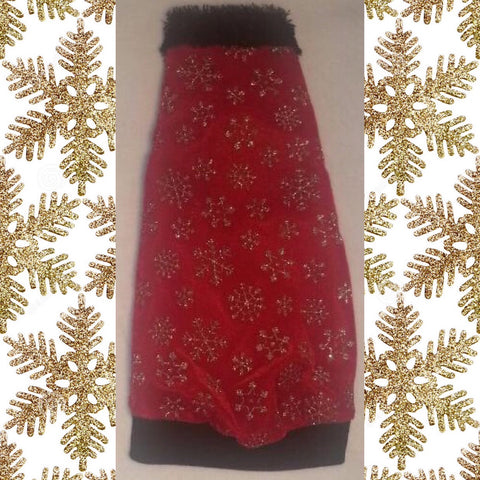 "Christmas Gold Snowflakes on Red Velvet ""Let it Snow"" with Faux Fur Collar"