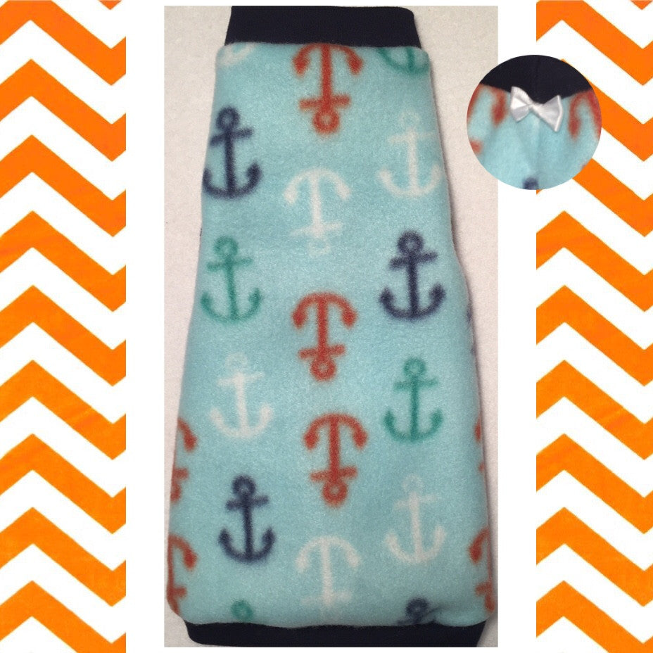 "Navy, White and Orange Anchor Fleece ""Sail Away"" - Nudie Patooties"