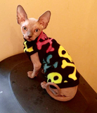Sphynx Cat Fleece Clothes / clothes for cats/ cat overalls /cat shirt/ cat sweater/ cat sweatshirt/ pet sweater/ Sphynx cat clothes/ Sphynx clothing / cats clothes/ shirt for cat/ cat clothes/ tattoo/ skull/ designer cat clothes/ cat pjs