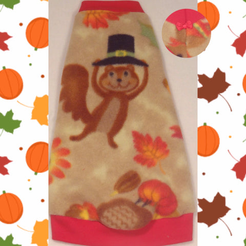 "Thanksgiving Critter Fleece ""Turkey Time"" - Nudie Patooties  Sphynx cat clothes for your sphynx cat, sphynx kitten, Donskoy, Bambino Cat, cornish rex, peterbald and devon rex cat."
