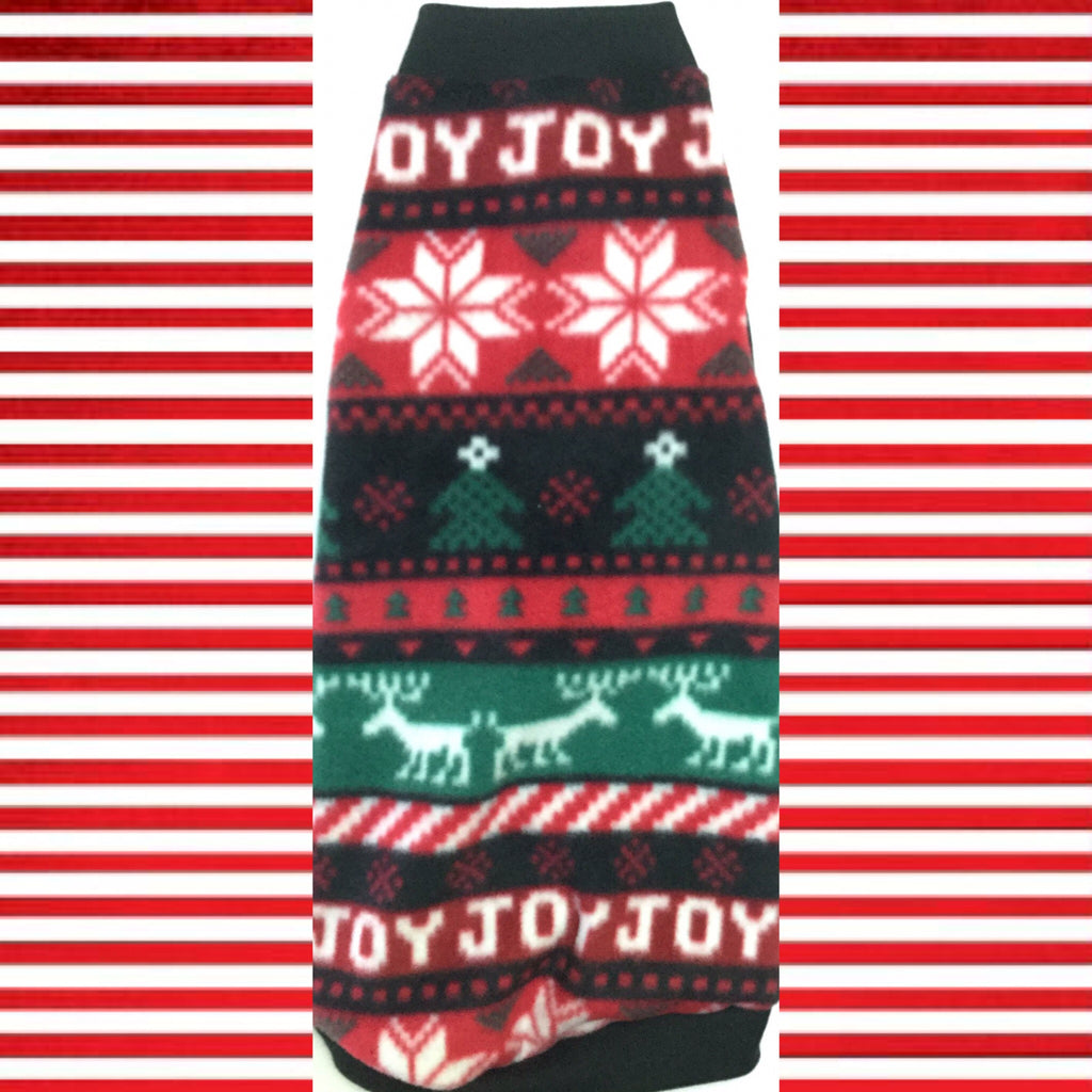 "Christmas Stripe Fleece ""Joy"" - Nudie Patooties  Sphynx cat clothes for your sphynx cat, sphynx kitten, Donskoy, Bambino Cat, cornish rex, peterbald and devon rex cat."