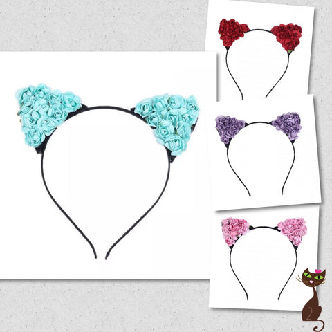 Rose Cat Ear Headband - Nudie Patooties