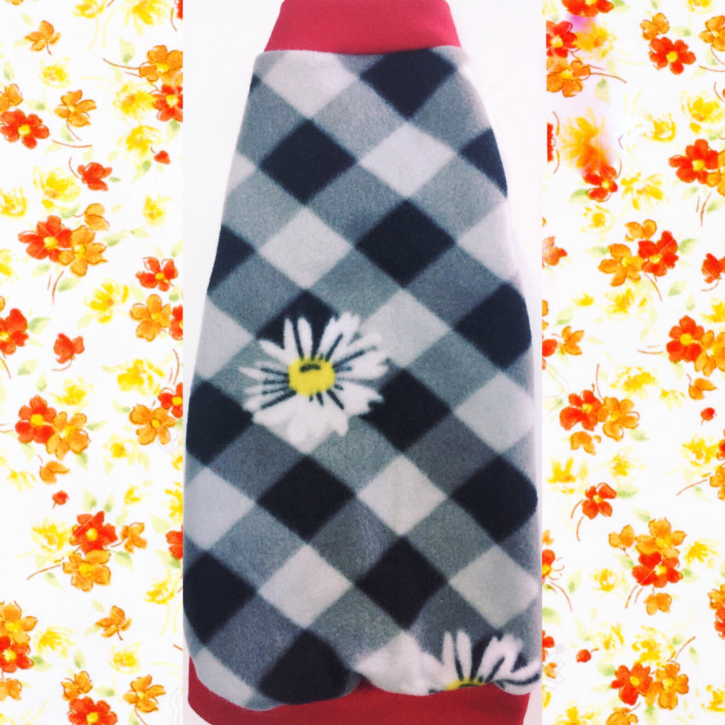 "Black and White Checker Fleece ""Finding Flowers"" - Nudie Patooties  Sphynx cat clothes for your sphynx cat, sphynx kitten, Donskoy, Bambino Cat, cornish rex, peterbald and devon rex cat."