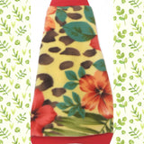 "Yellow and Red Hawaiian Flower Fleece ""Aloha"""
