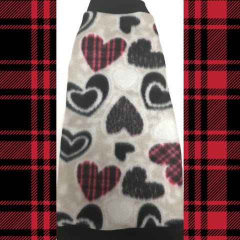 Heart fleece shirt for your sphynx cat. devon rex, cornish rex, peterbald, sphynx kitten, sphynx clothes, cat clothes