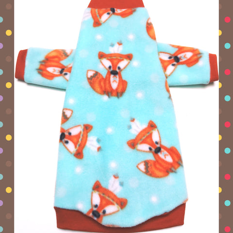 "Long Sleeve Orange and Baby Blue Fleece ""Tribal Foxes"" - Nudie Patooties"