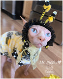 Fleece bumble bee shirt/ cat Halloween costume/ Sphynx Cat Fleece Clothes / clothes for cats/ cat overalls /cat shirt/ cat sweater/ cat sweatshirt/ pet sweater/ Sphynx cat clothes/ Sphynx clothing / cats clothes/ shirt for cat/ cat clothes/ skull/ designer cat clothes/ cat pjs/ sphynx kitten clothes fleece shirts/bee hat for cat