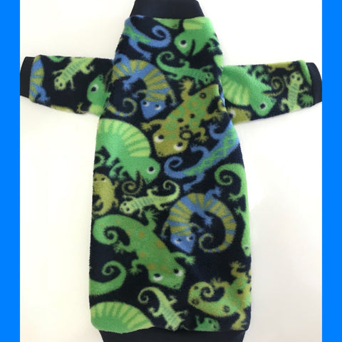"Long Sleeve Blue and Green Lizard Fleece ""Little Lizard"""