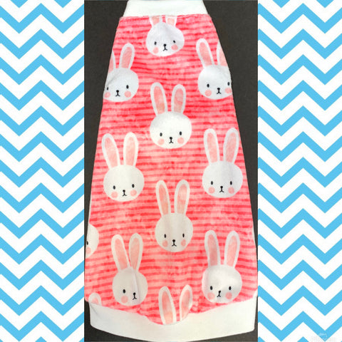 Minky Stripe Pink Easter Bunnies
