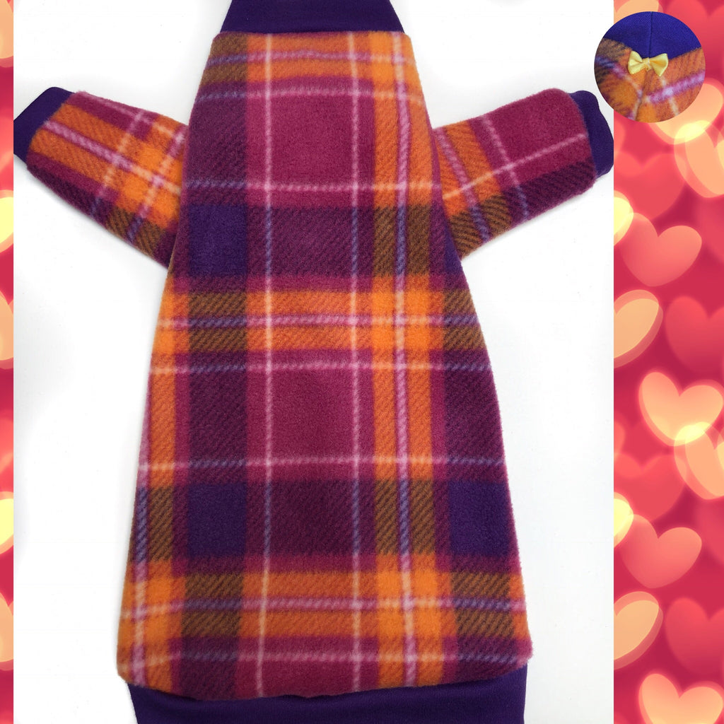 "Long Sleeve Orange and Purple Plaid Fleece ""Keep Life Simple"" - Nudie Patooties"